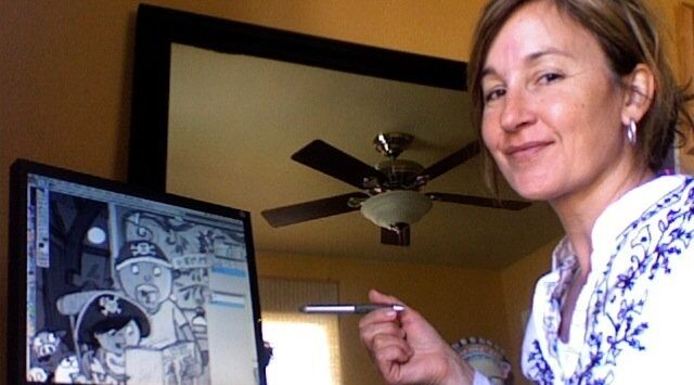 Can you find the missing pencil?   Mary Sullivan paints with a wacky Wacom