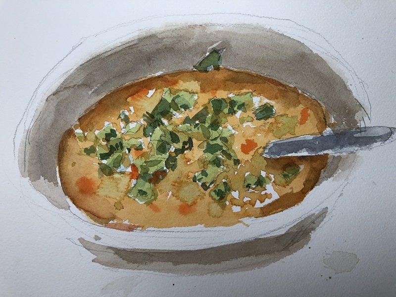 Lentil soup with cilantro
